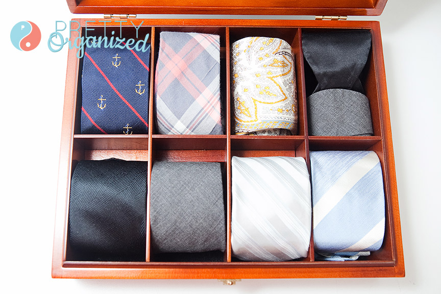 diy tie organizer, tie organizer made from tea box