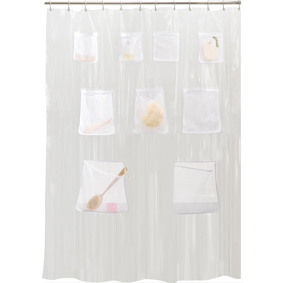 Pocket organizer that hangs on shower rod for storage