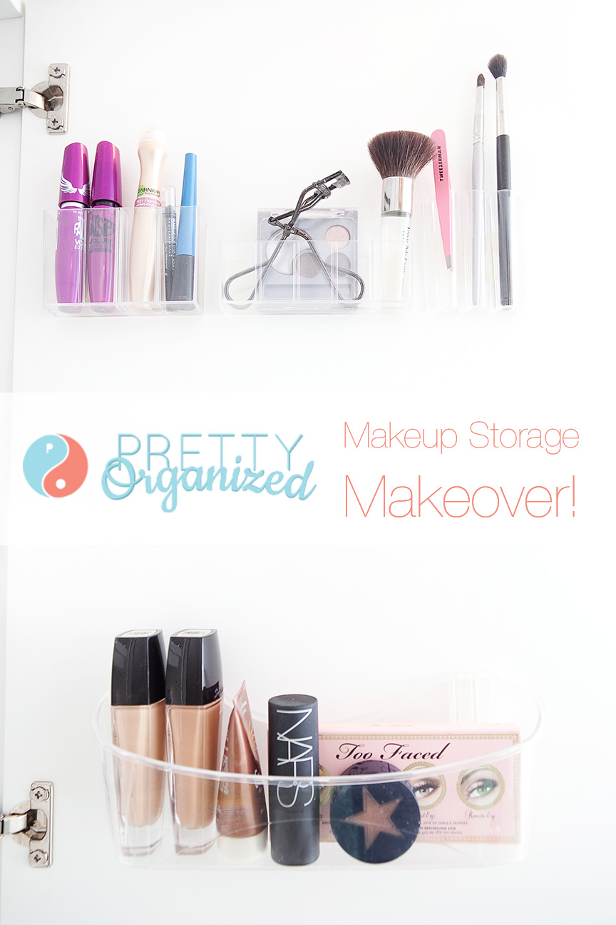 Makeup-Storage-Ideas, Plastic Makeup Organizers Attached Inside Cabinet Door