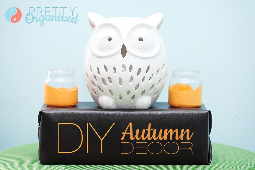 DIY-Autumn-Decorating-Ideas, paint-dipped votives and vinyl-covered styrofoam display block.