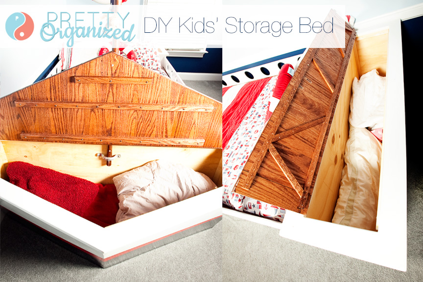 Kids Bed With Storage, Hidden Storage DIY, Kids Bedroom Ideas
