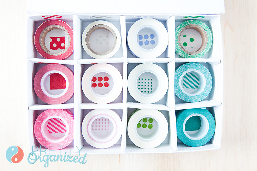 crafts-for-kids, organized washi tape storage