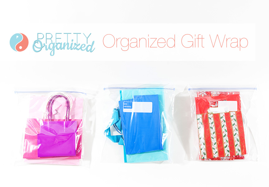 to-get-organized, gift bags sorted and stored in plastic zipper bags