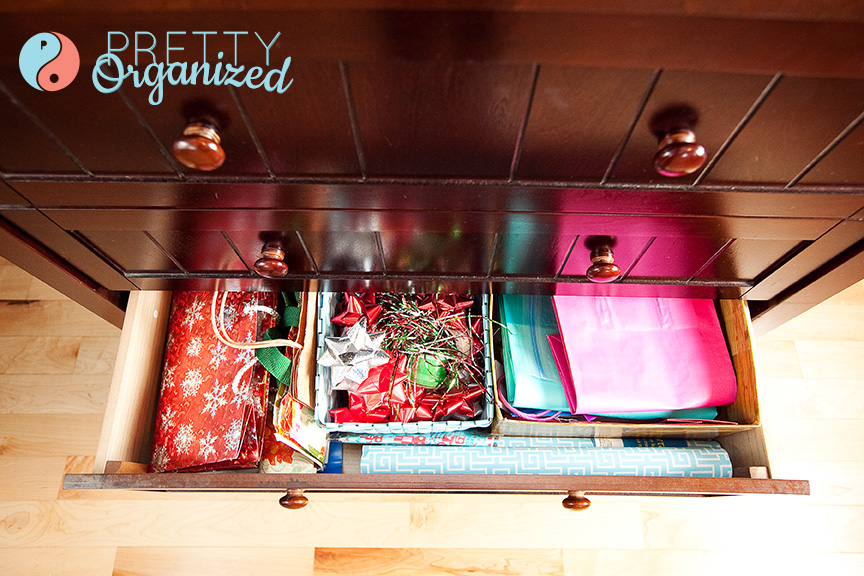 ways to gift wrap, diy gift wrap station in a drawer