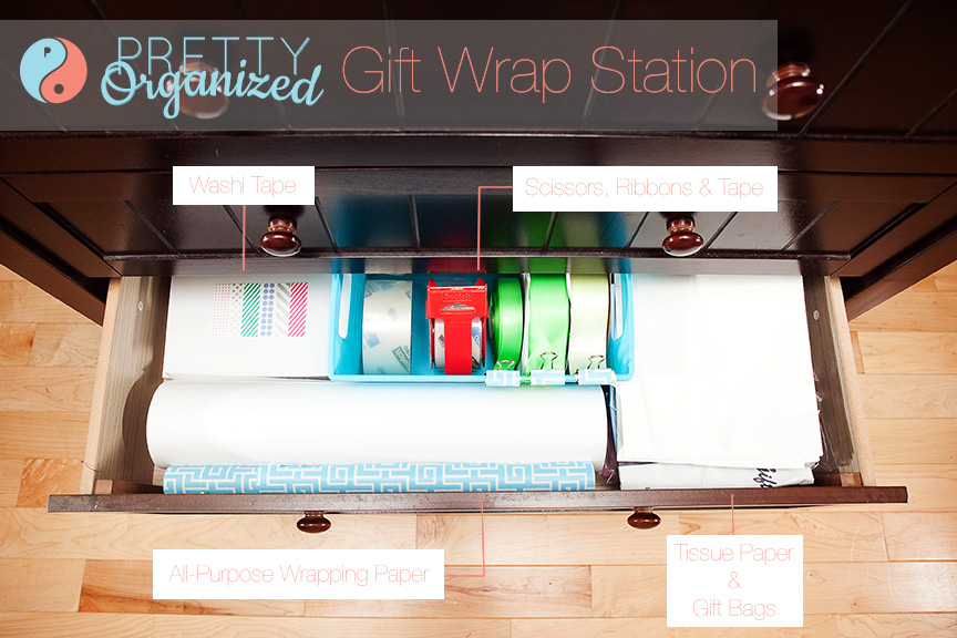 wrapping-ideas, gift wrap station in a dresser drawer