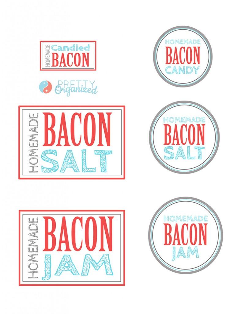 Bacon-Gift-Ideas, Printable bacon jam, bacon salt, and bacon candy labels