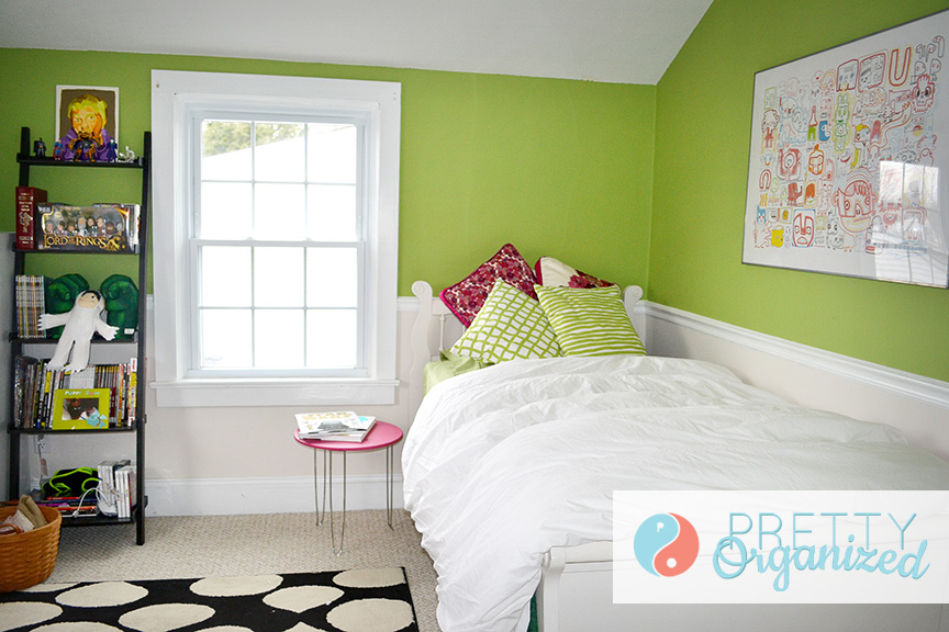 kids-room-ideas, green and pink bedroom