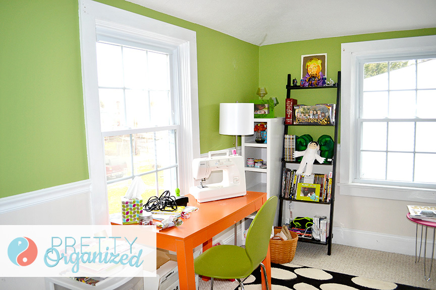 room-ideas, pink, orange, green craft room