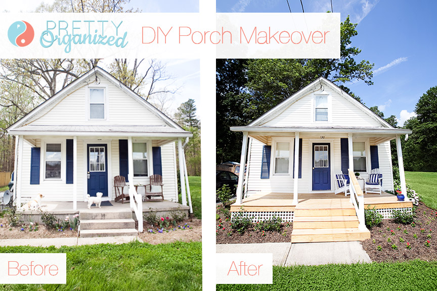 DIY Porch Update A Pretty Porch For Pennies How To Organize - Front porch makeover ideas