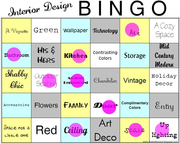 Interior Design Bingo