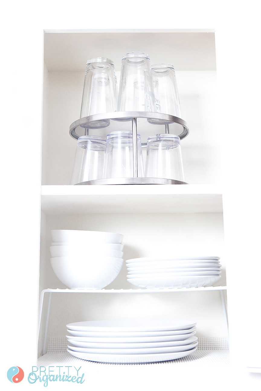 Kitchen Storage Tips: Use lazy susans to make upper cabinet storage more accessible.