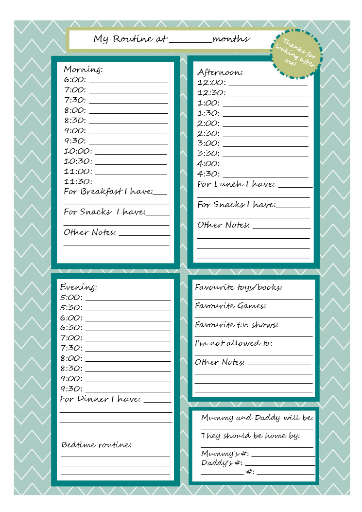 Printable Babysitter Note Sheet