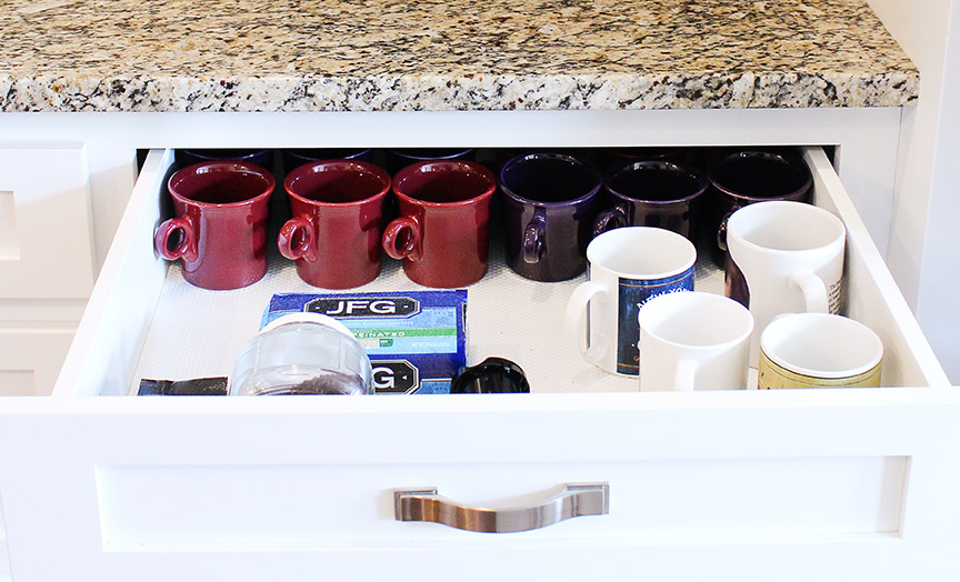 Store mugs & supplies in a drawer below your coffee maker for an instant coffee station!