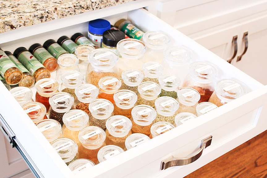Use a wide drawer for easy spice organization!