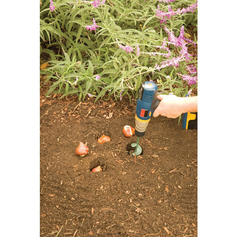 Use a bulb auger on your drill to save time planting bulbs!