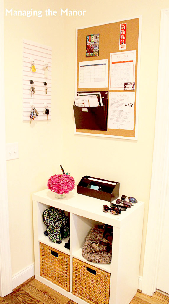 command center hallway organizer -- catch clutter right when it comes in the door!