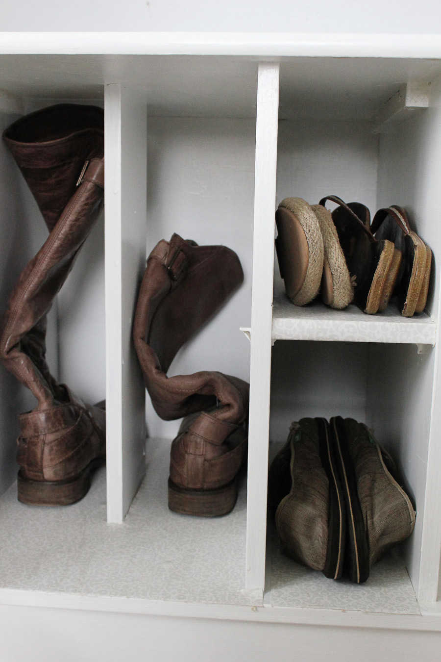 repurposing idea for shoe storage