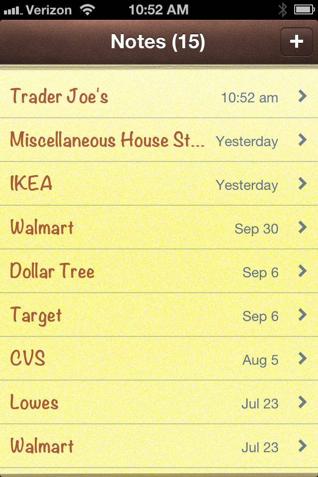 "Writing everything down in the ""notes"" feature on your phone means that you always have your lists on hand!"