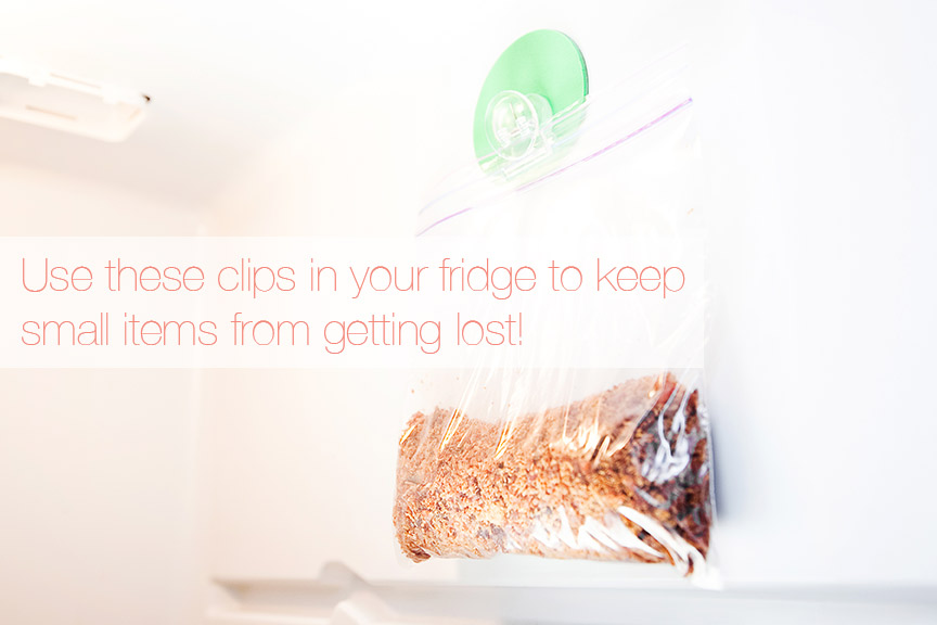 Use clips in your fridge to keep small items from getting lost